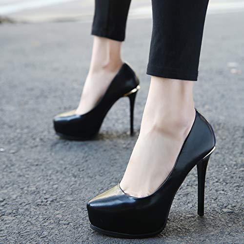 Printemps Chaussures Talon Temprament Et Haut 12cm sept Noir Impermable Trente Kphy lgant Simple Tableau Automne Sexy Pointues Fin q5dd8Uw