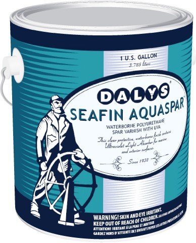 Daly's SeaFin AquaSpar Waterborne Polyurethane Clear Spar Varnish, Satin, 1 Gallon by DALY'S WOOD FINISHING PRODUCTS