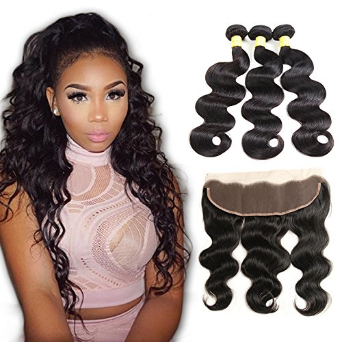 Brazilian-Body-Wave-3-bundles-With-Free-Part-13×4-Frontal-Closure-Natural-Color-100-Unprocessed-Human-Hair-Weave-Weft-with-Ear-to-Ear-Lace-Frontal-Closure18-20-22-with-18-Free