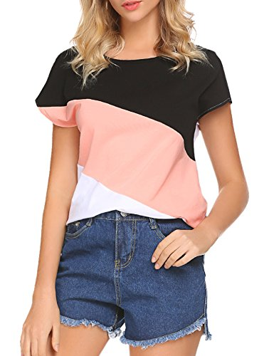 Hount Women's Casual Color Block T Shirt Blouses Short Sleeve Crew Neck Tops (Black/Pink/White, - Block Fashion
