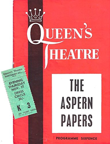 "Michael Redgrave ""ASPERN PAPERS"" Flora Robson 1960 London Program / Ticket Stub"
