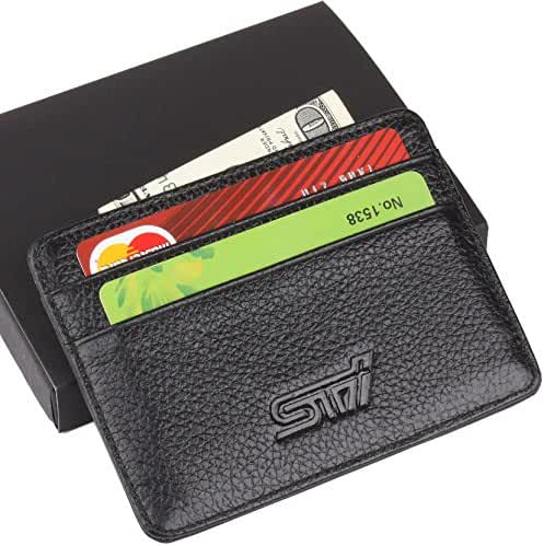 STI Subaru Slim Wallet Black with 4 Credit Card Slots - Genuine Leather
