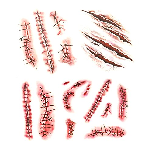 LINGJUN 20Pcs Realistic Fake Bloody Wound Stitch Scar Scab Temporary Tattoo Decals Sticker Halloween Prank Horror Props -