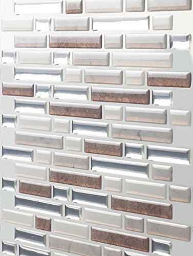Tic Tac Tiles Anti-Mold Peel and Stick Wall Tile in Como Pebble 10 Tiles
