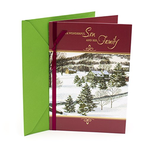 Hallmark Christmas Card Son and His Family (Winter Scene Illustration) (Christmas Scenes Card Winter)