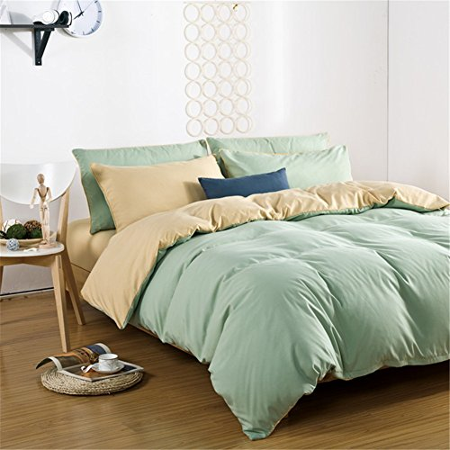Simonshop Home Textile Bedding Set Soft Comfortable Bedclothes 4pcs Solid Color Duvet Cover Sets Full Queen King Size (Full, light green)