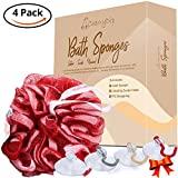 Bath Shower Sponge: 4 Soft Bath Loofahs for Men and Women + Matching Suction Hooks + Storage Bag |Gift Set By CherryDip