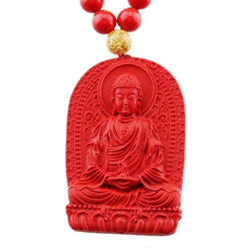 FOY-MALL Fashion Cinnabar Amitabha Buddha Pendant Necklace XL1339M]()