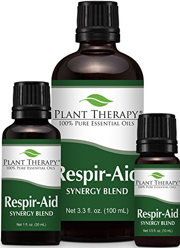 Respir Aid Synergy Essential Oil Blend. 100% Pure, Undiluted, Therapeutic Grade. (Blend of: Eucalyptus, Pine, Peppermint, Lavender, Spruce, Marjoram and Cypress)