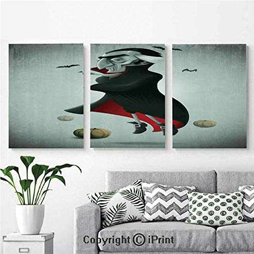 Modern Gallery Wrapped Canvas Print Creepy Halloween Night Pumpkins and Old Vampire with Cape Flying Bats 3 Panels Pictures on Canvas Wall Art Ready to Hang for Living Room Kitchen Home Decor,12