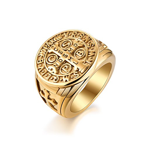 St Benedict Ring Men's Stainless Steel Christian Roman Rings Mens Catholic Saint Benedict Exorcism Ring Gift Cross Demon Protection Ghost Hunter CSPB for Men Boys Dad Boyfriend Gold plated Size 10