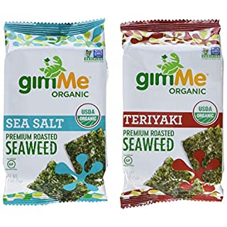 gimMe Organic Roasted Seaweed Sheets - 8 Sea Salt & 4 Teriyaki Variety Pack - Keto, Vegan, Gluten Free - Great Source of Iodine and Omega 3's - Healthy On-The-Go Snack for Kids & Adults