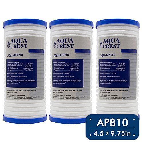 AQUACREST AP810 Replacement for 3M Aqua-Sterling AP810 Whirlpool WHKF-GD25BB 5 Micron Whole House Water Filter (Package May Vary)(Pack of 3)