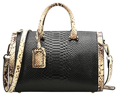 - Weidu Women Handbags Leather Genuine Clearance Designer Snake Grain White Black (black)