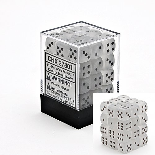 Chessex Dice d6 Sets: Frosted Clear with Black - 12mm Six Sided Die (36) Block of Dice by Chessex Dice