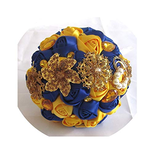 TaeHyung Gorgeous Gold Brooches Wedding Bouquet Silk Roses Bridal Bouquet Rhinestones Colorful Bride 'S Bouquet with Pearl Fe10,Yellow Royal Blue
