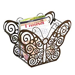 Collections Etc Antique Scroll Butterfly Metal Magazine Holder with Bronze Finish - Organizer for Any Room in Home, Bronze