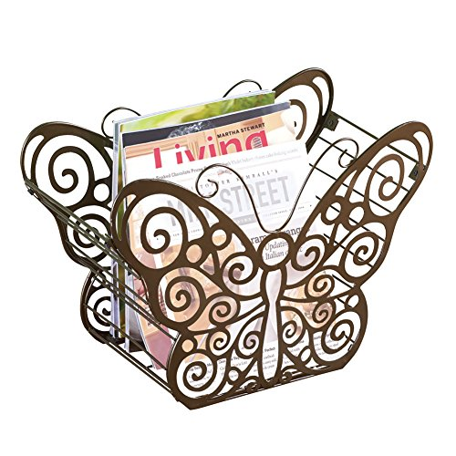 (Collections Etc Antique Scroll Butterfly Metal Magazine Holder with Bronze Finish - Organizer for Any Room in Home, Bronze)