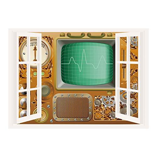 (SCOCICI Window Frame Style Home Decor Art Removable Wall Sticker/Copper Decor,Industrial Victorian Style Grunge Steampunk Theme TV Gauger Clockwork,Orange Green Silver/Wall Sticker Mural)