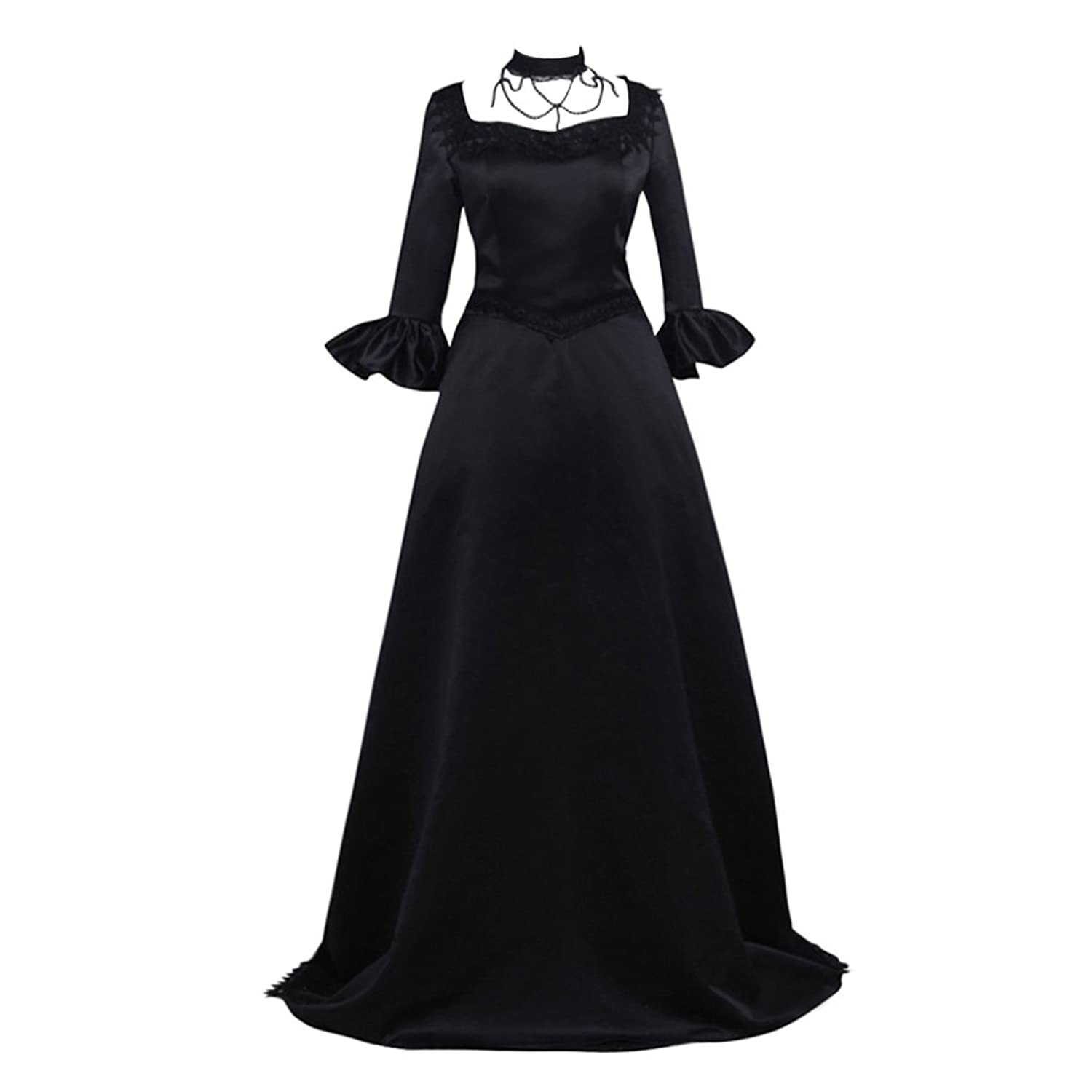 Cosplayitem Women Medieval Dress Rococo Victorian Dress Lace Decoration Fancy Dress Ball Gown Black