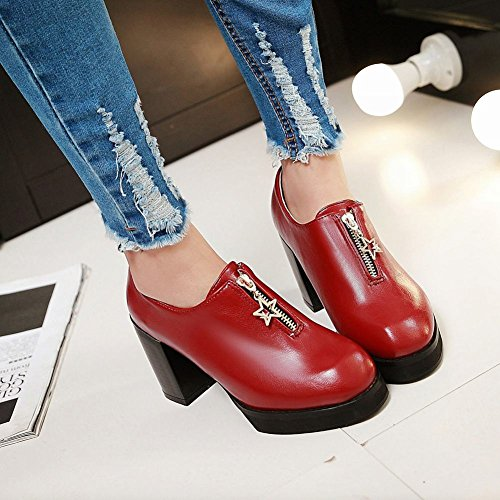 Carolbar Womens Zipper Retro Vintage Fashion Tacco Medio Scarpe Casual Vino Rosso