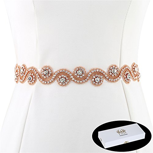 Bridal Applique Belt for Dress, FANGZHIDI 1 Yard Rhinestone Wedding Sash with Crystal Trim for DIY- Best Gift for Women, Suit for Decorate Cake Party Formal Dress by Sewing on/Iron on (Rose Gold) ()