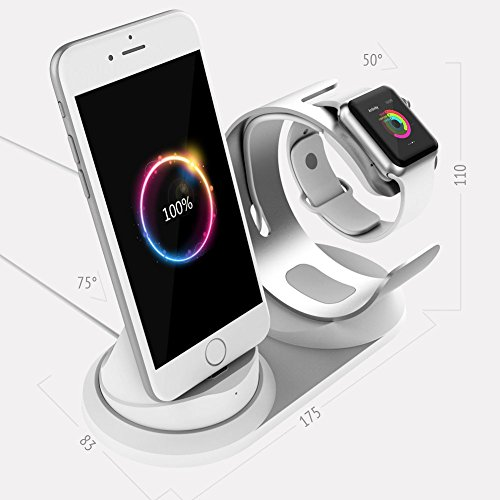 Apple Watch Charger Stand,Aluminum iPhone Charger Dock with lightning cable for iWatch (Series 1,2,3, 42/38mm Sport Nike+),iPhone X/10 8/8 Plus 7/7Plus 6/6s 5c Se iPod ipad,2 in 1 Apple iphone Chargin
