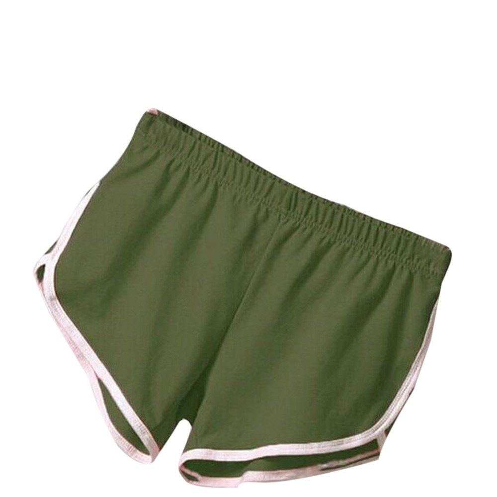 TRENDINAO Women's Summer High Waist Casual Shorts, New Pants Women Sports Shorts Gym Workout Waistband Skinny Yoga Short ArmyGreen