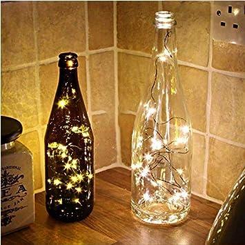 Ouken 2 Metros 20 Luces de luciérnaga Estrella decoración Linterna Blanco luz Correa (la Botella no se Incluye): Amazon.es: Hogar