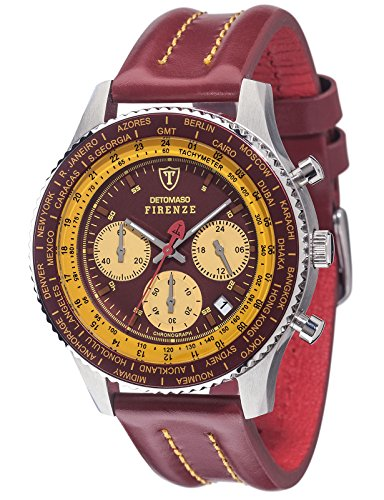 DETOMASO Men's Quartz Stainless Steel and Leather Casual Watch, Color:Red (Model: SL1624C-BY)
