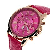 Fashion Watches for Women,Fashion Geneva Roman Numerals Faux Leather Analog Quartz Women Wrist Watch,Novelty Watches,Hot Pink