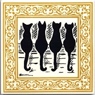 product image for Besheer Art Tile CAT Tiles - CAT Wall PLAQUES - CAT TRIVETS with Gold Victorian Border