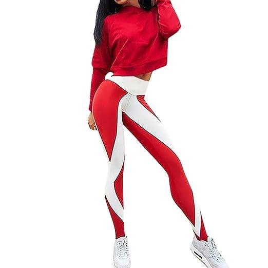Yoga azul rojo pantalones deportes Leggings para mujer de ...