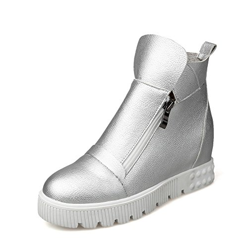 Women's Ankle high Heels Kitten Round Solid Toe AgooLar Zipper Boots Silver Closed qH5wdZxO