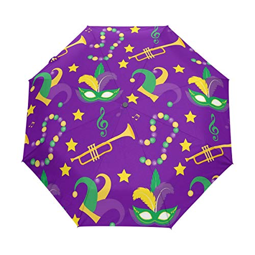 UOER Compact Folding Umbrella Fleur De Lis Mardi Gras Qaw Travel Umbrella - Waterproof/Sun Block/Windproof Umbrellas Parasol Umbrella l Automatic Open Close