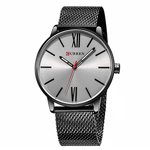 Treeweto Men's Slim Mesh Wrist Watch Roman Numerals Black Band Gray Dial Bisiness Dress Black Watch