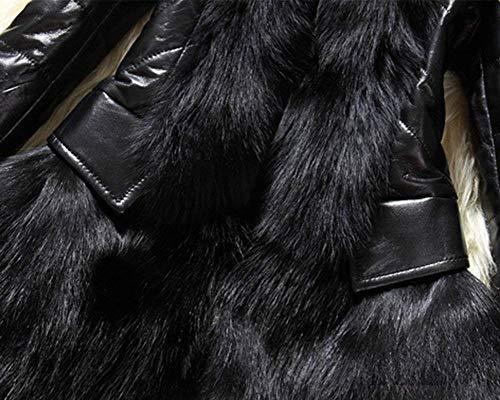Cappotti Vintage Di Prodotto Pelliccia Manica Caldo Stlie Fit Pelle Outerwear Donna Schwarz Giacca Lunga Eleganti Addensare Grazioso Plus Invernali Slim Sintetica Giubotto Fashion HOwT8xq