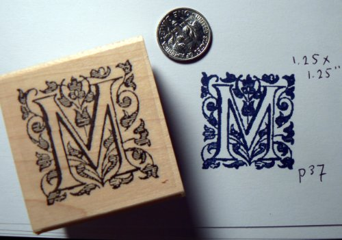 Letter M rubber stamp wood mounted P37 (Wood Rubber Dragonfly Mounted Stamp)
