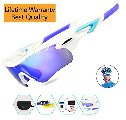 Sports Sunglasses For Men Women Cycling Glasses Polarized Baseball Running Fishing Driving Golf With 5 Interchangeable - Baseball Sunglasses Best For