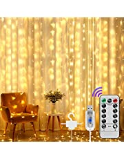 Window String Lights 300 LEDs Fairy Curtain Light Warm White Decorative Lights 8 Light Modes USB Powered Length Adjustable Remote Control with Timer for Festival Party Wedding Home Garden Bedroom