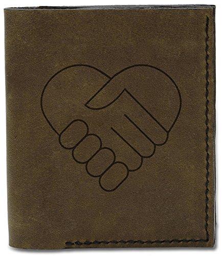Men's Handshake Wallet Hearts Natural MHLT Heart 04 Leather d Illustrated Handmade Genuine rpwqxa7r