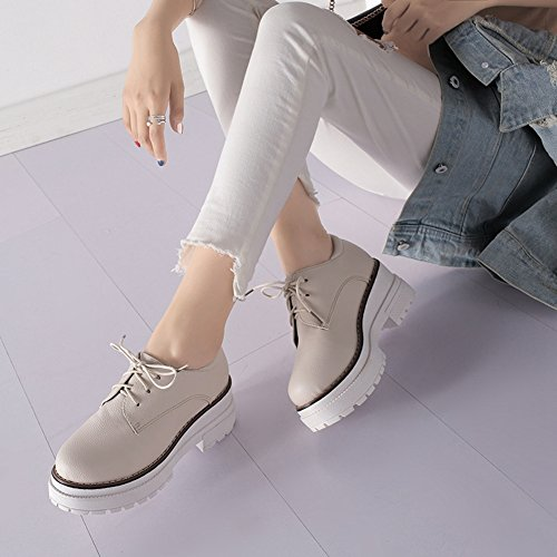 CYBLING Height Increasing Hidden Fashion Casual Sneaker For women Beige ExnMDWH
