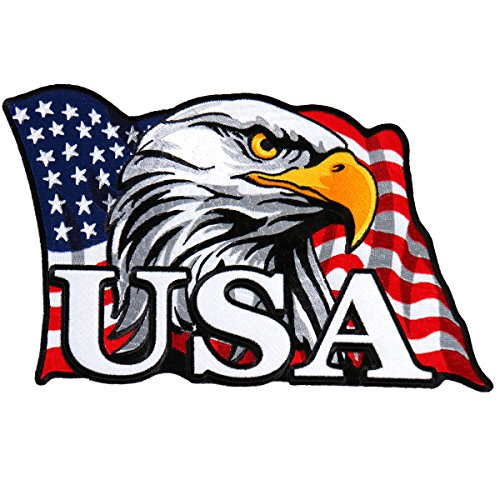 Hot Leathers, EAGLE HEAD FLAG, High Thread Embroidered Iron-On / Saw-On Rayon PATCH - 4