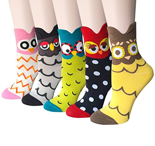 DearMy Women's Lovely Design Casual Cotton Crew Socks | Good for Gift Idea| One Size Fits All | Gifts for Women (Owl 5 Pairs)