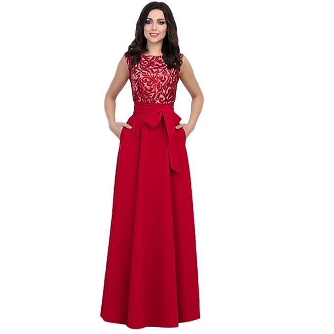 Yujeet Elegante Plisado Vestidos de Mujer Corte Imperio Sin Mangas Cuello Redondo Vestido para Ceremonia Coctel Partido (Rojo, Asia L): Amazon.es: Ropa y ...