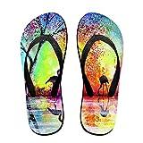 Couple Flip Flops Flamingo On The Lake Print Chic Sandals Slipper Rubber Non-Slip House Thong Slippers