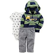 Carter's Baby Boys' 3 Piece Striped Truck Cardigan Little Jacket Set 6 Months