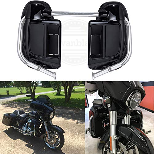 Mustache Bracket - Us Stock Vivid/Glossy Black Lower Vented Fairings Rushmore Leg Warmer Kits with Glove Box Fit for Harley Touring Road Glide Road King Street Glide Electra Glide 2014 2015 2016 2017 2018 2019