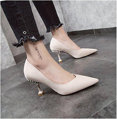 Cm Toe Una Perforación Zapatos Mujer 8 De Tacón Carrera Beige Fina Negro Zapatos 5 De Punta GAOLIM con Agua Alto De De Tacón con H6xwq7