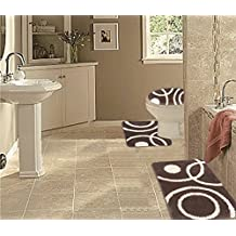 WPM 3 Piece Bath Rug Set CIRCLE Pattern Bathroom Rug (50CMx80CM)/large Contour Mat (50CMx50CM) with Lid Cover (Coffee)
